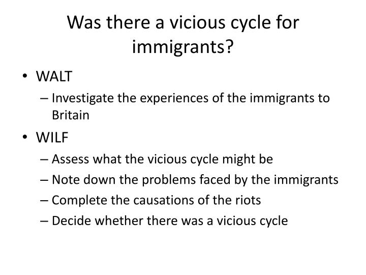 was there a vicious cycle for immigrants n.