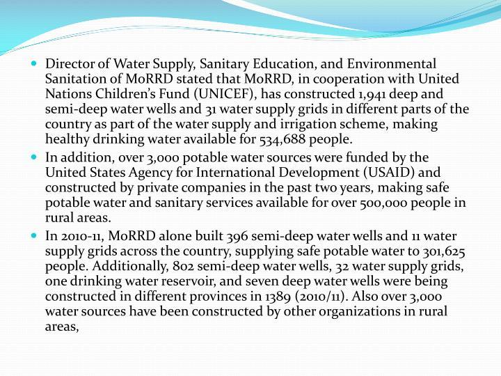 Director of Water Supply, Sanitary Education, and Environmental Sanitation of