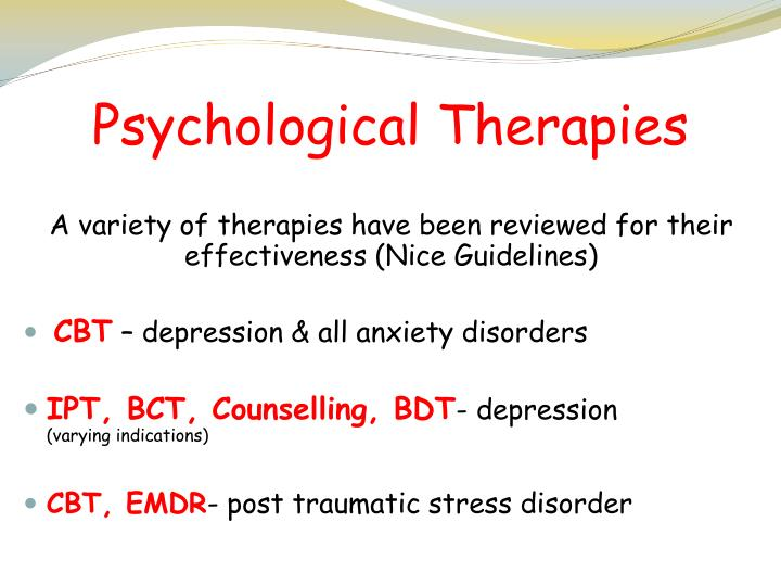 psychological therapies for depression Psychological therapies versus antidepressant medication, alone and in combination for depression in children and adolescents.