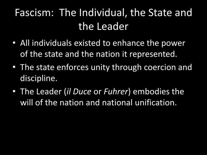 Fascism:  The Individual, the State and the Leader