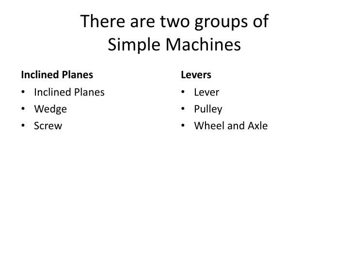 there are two groups of simple machines n.