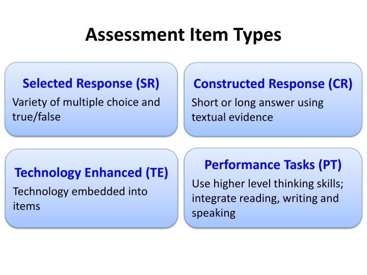 Assessment Item Types
