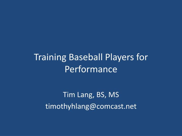 training baseball players for performance n.