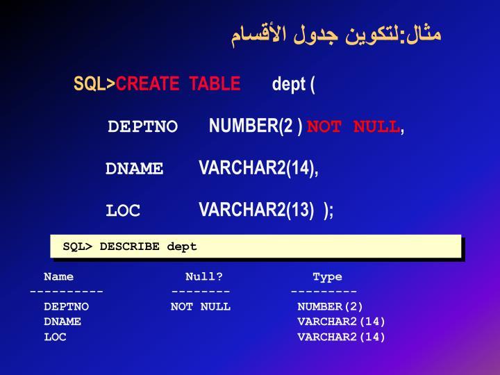 مثال:لتكوين جدول الأقسام