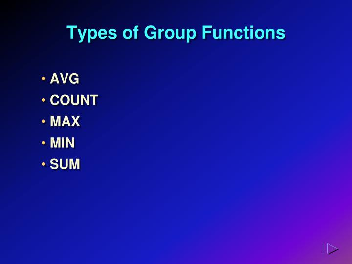 Types of Group Functions
