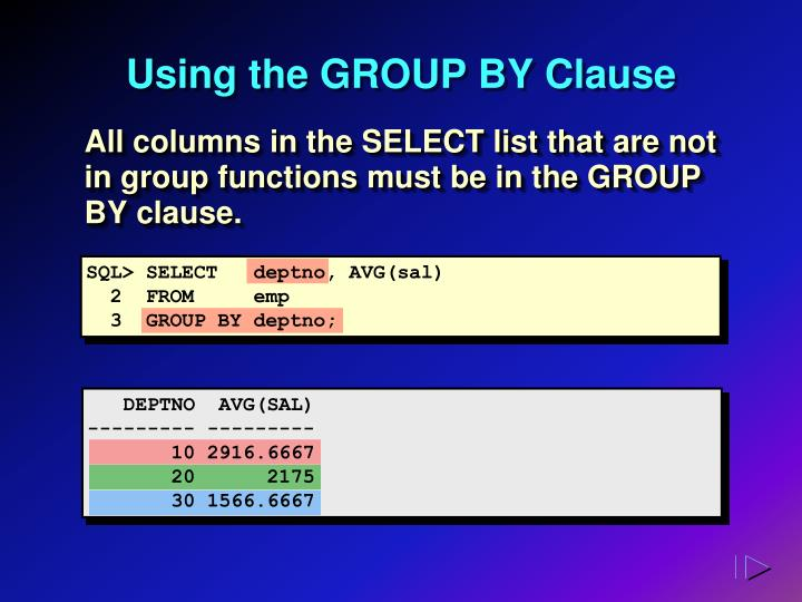 Using the GROUP BY Clause