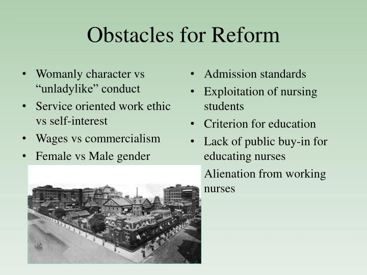 Obstacles for reform