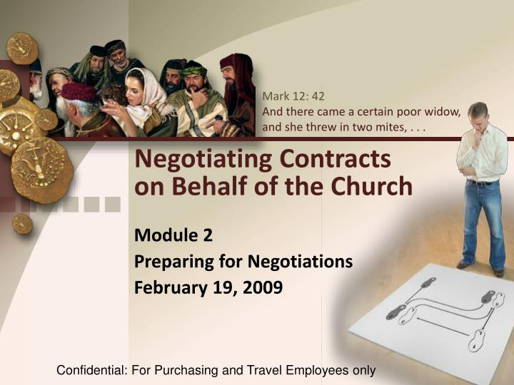 negotiating contracts on behalf of the church n.
