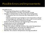 possible errors and improvements