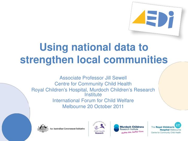 using national data to strengthen local communities n.