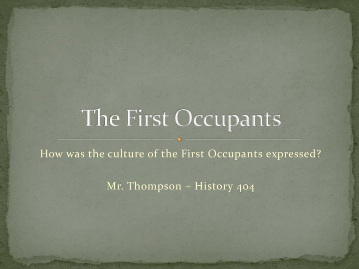 the first occupants n.