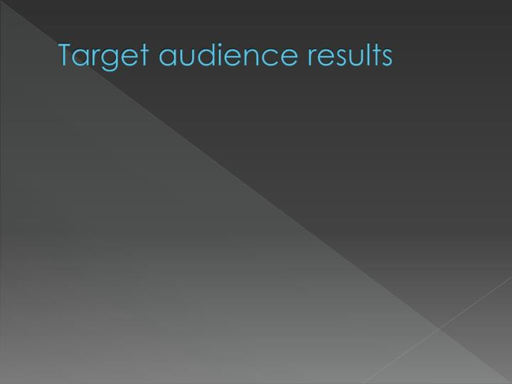 Target audience results
