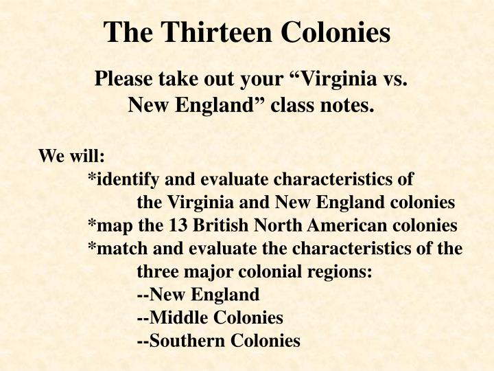 the thirteen colonies n.