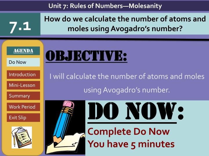 objective i will calculate the number of atoms and moles using avogadro s number n.