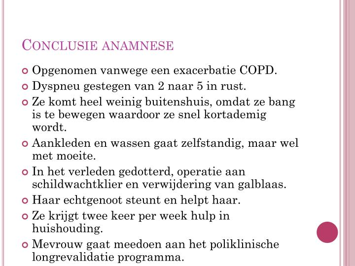 Conclusie anamnese