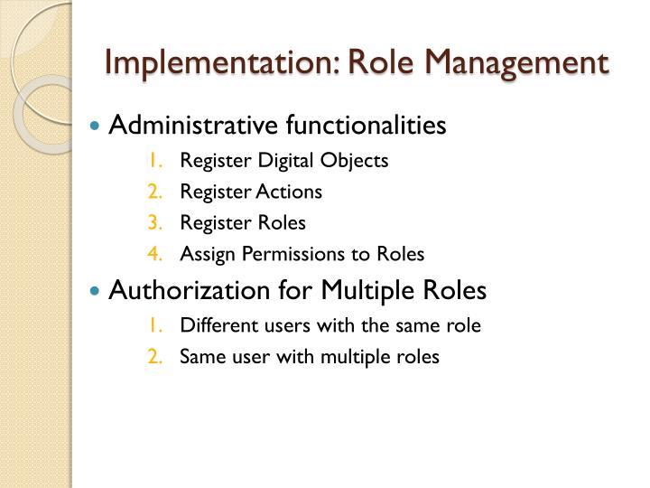 Implementation: Role Management