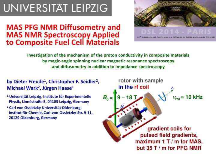 mas pfg nmr diffusometry and mas nmr spectroscopy applied to composite fuel cell materials n.