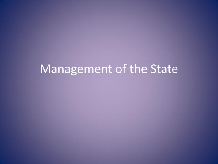 management of the state n.
