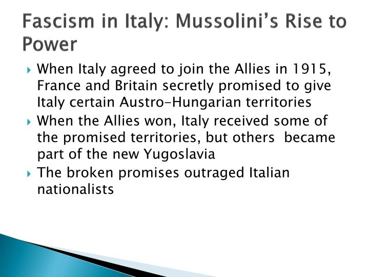 Fascism in italy mussolini s rise to power