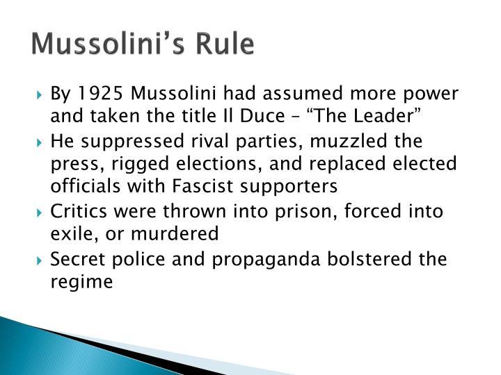 Mussolini's Rule