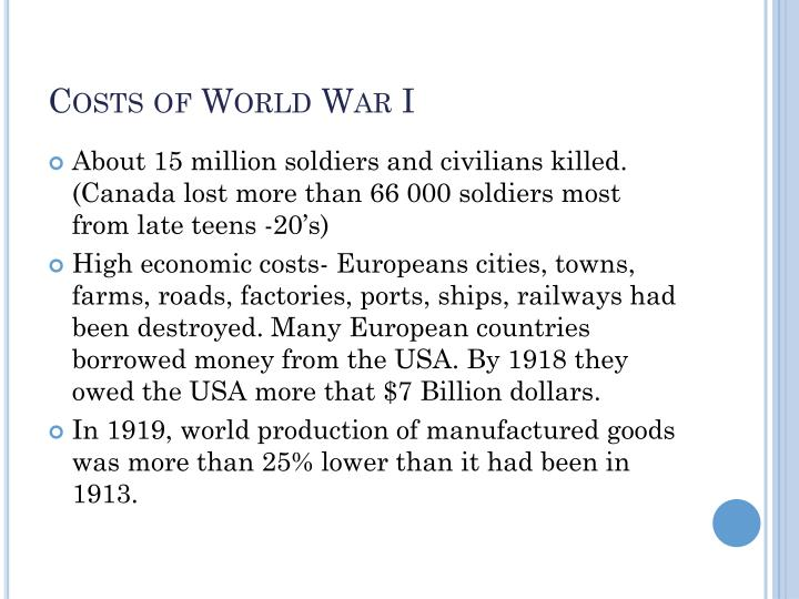 Costs of World War I