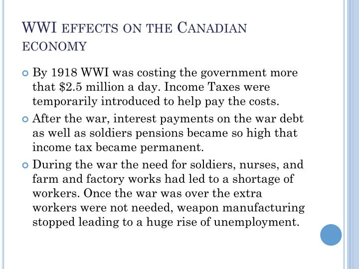 WWI effects on the Canadian economy