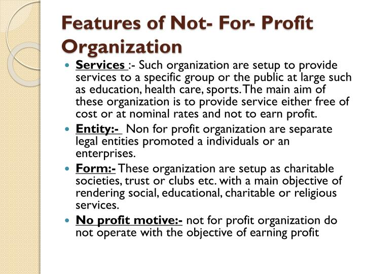 ppt accountancy project on non profit organizations made by