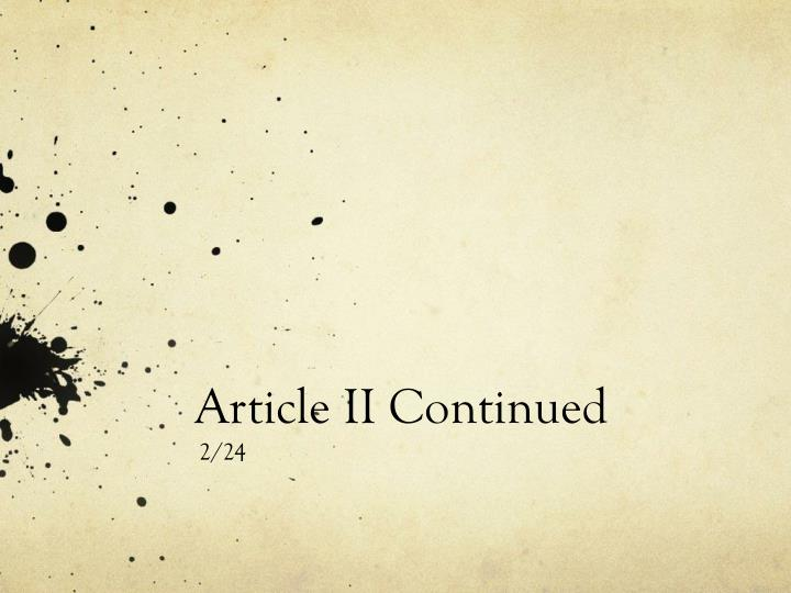article ii continued n.