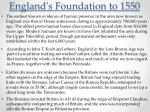 england s foundation to 1550