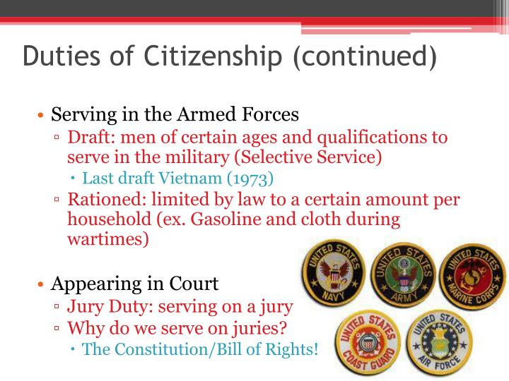 Duties of Citizenship (continued)
