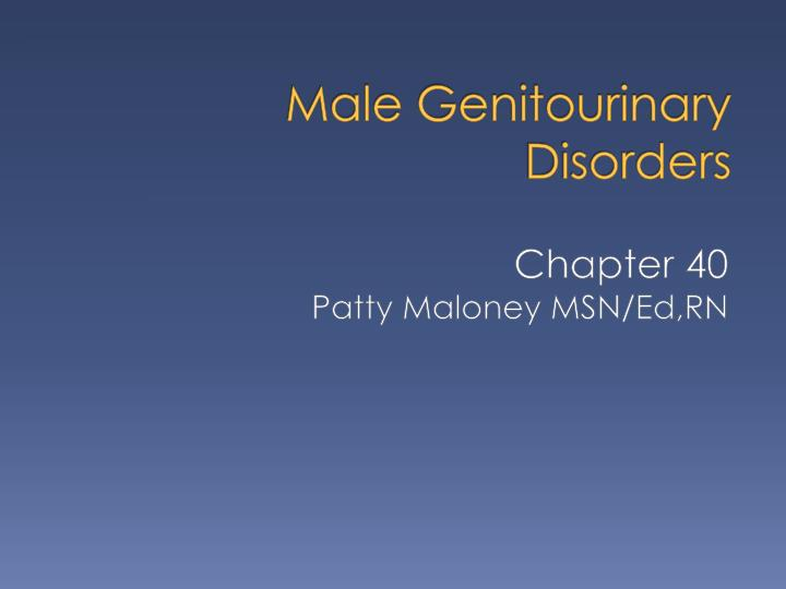 male genitourinary disorders n.
