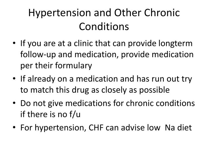 Hypertension and Other Chronic Conditions