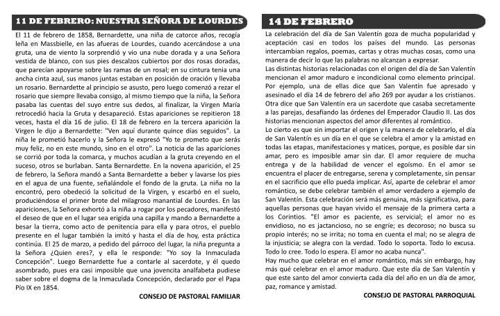 11 DE FEBRERO: NUESTRA SEÑORA DE LOURDES