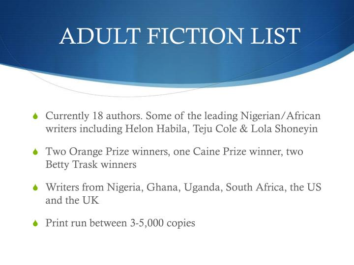ADULT FICTION LIST