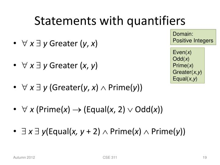 Statements with quantifiers