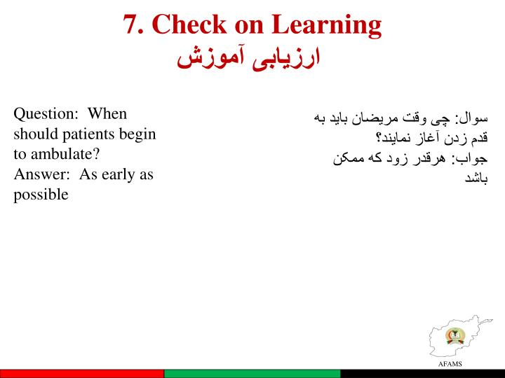 7. Check on Learning