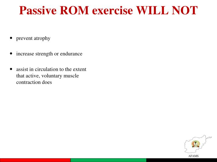 Passive ROM exercise WILL NOT