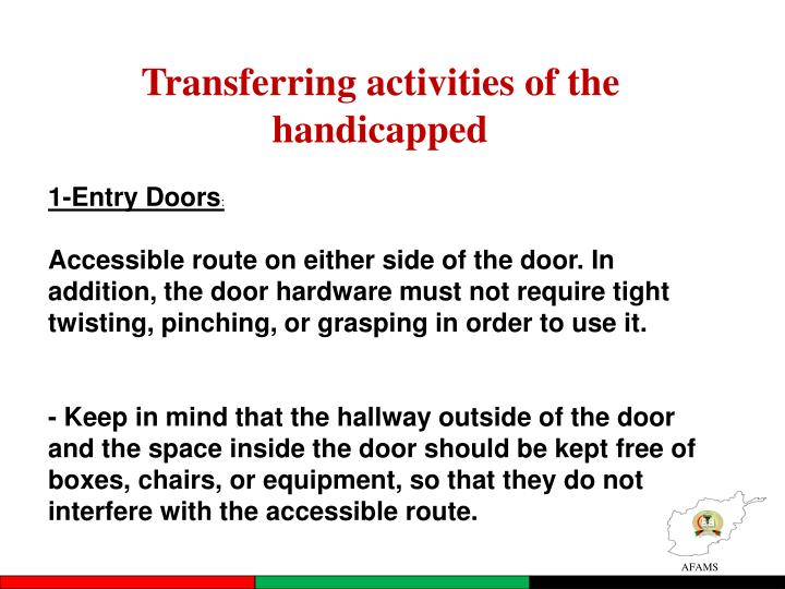Transferring activities of the handicapped