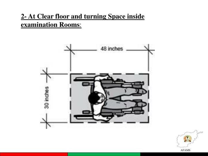 2- At Clear floor and turning Space inside examination Rooms