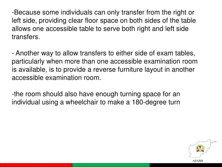 Because some individuals can only transfer from the right or left side, providing clear floor space on both sides of the table allows one accessible table to serve both right and left side transfers.