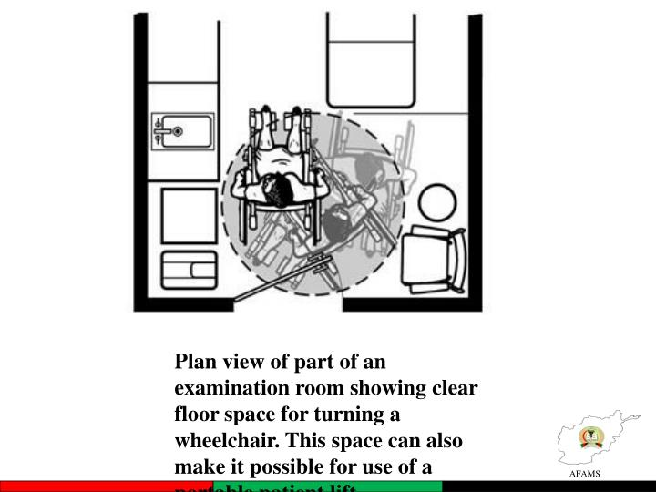Plan view of part of an examination room showing clear floor space for turning a wheelchair. This space can also make it possible for use of a portable patient lift.