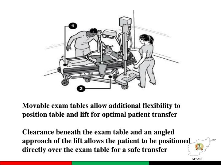 Movable exam tables allow additional flexibility to position table and lift for optimal patient transfer