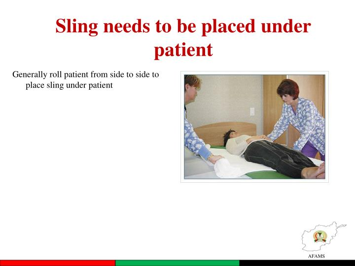 Sling needs to be placed under patient
