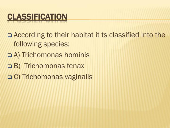 According to their habitat it ts classified into the following species: