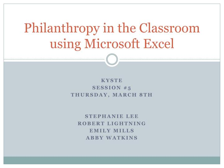 philanthropy in the classroom using microsoft excel n.