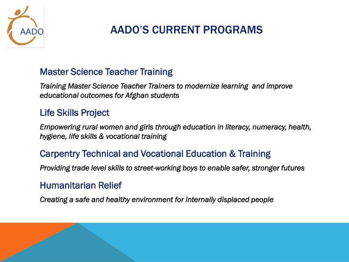 AADO's Current Programs