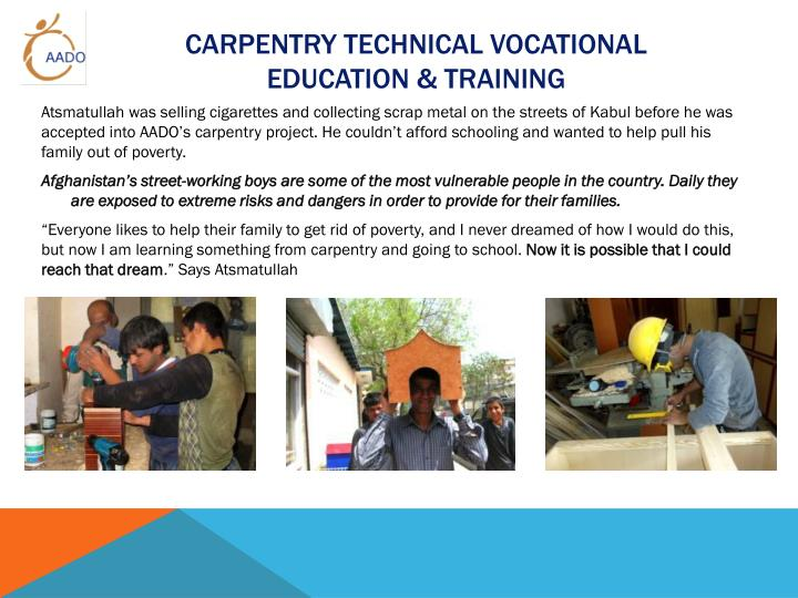 Carpentry Technical Vocational Education & training