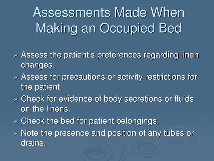 Assessments Made When Making an Occupied Bed
