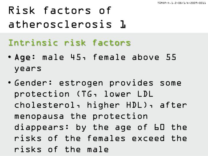 Risk factors of atherosclerosis