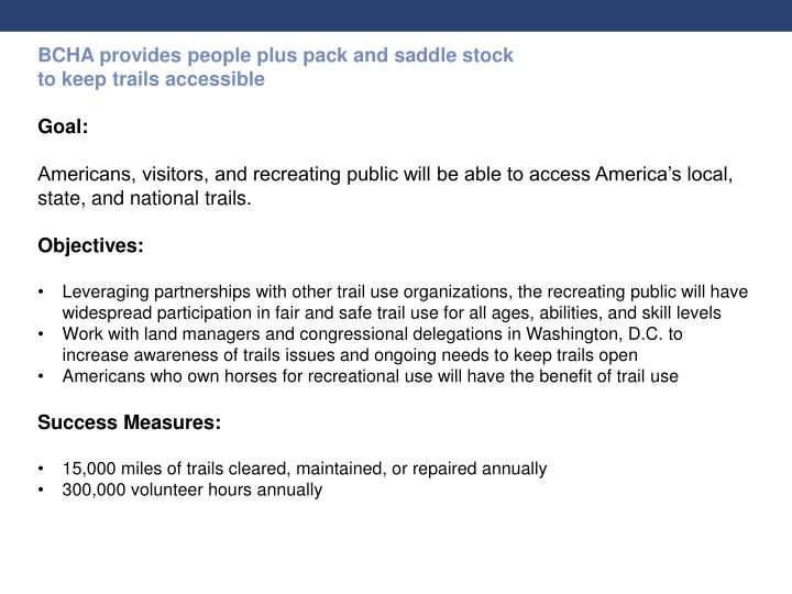 BCHA provides people plus pack and saddle stock